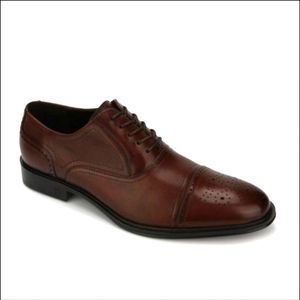 mens reaction kenneth cole brown leather cap toe dress shoes size 11